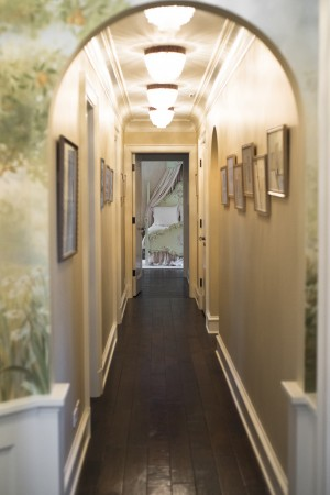 My client's holiday card hallway leading to her daughter's room.