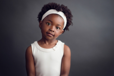 Portrait of a Young Girl in White Bandanna and Top, Not Smiling - Classic Kids Photography